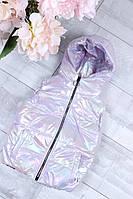 Жилетка детская на девочку, блестящая, р. 104-134, розовый перламутр, фото 1