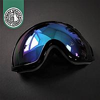 Горнолыжная маска-очки для сноуборда и лыж Лыжные очки зеркальные SPOSUNE Синие линзы Черный(ГЛМ001)