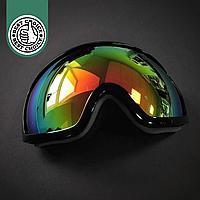 Горнолыжная маска-очки для сноуборда и лыж Лыжные очки зеркальные SPOSUNE Красные линзы Черный(ГЛМ001)
