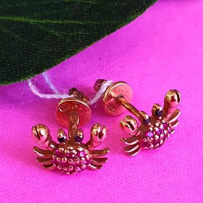 Срібні дитячі сережки з позолотою Крабики - Позолочені сережки для дівчинки Крабик