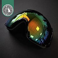 Горнолыжная маска-очки для сноуборда и лыж Лыжные очки зеркальные SPOSUNE Черный(ГЛМ008)