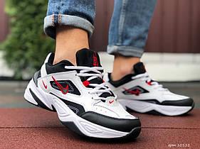 Мужские кроссовки Nike M2K Tekno, білі з чорним, червоні / чоловічі кросівки Найк (Топ реплика ААА+)