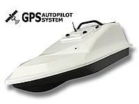 Кораблик для прикормки Фантом Белый с GPS автопилотом (4+1 точек) и дальнобойным пультом