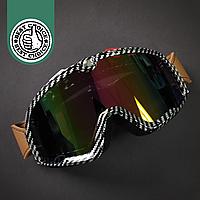 Горнолыжная маска-очки для сноуборда и лыж Лыжные очки зеркальные WorldSport Хамелеон Шахматы (ГЛМ002-2)