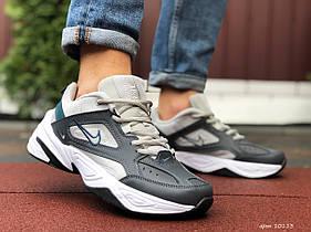 Мужские кроссовки Nike M2K Tekno, темно сірі з бежевим / чоловічі кросівки Найк (Топ реплика ААА+)