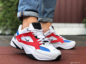 Мужские кроссовки Nike M2K Tekno, білі з червоним\сині / чоловічі кросівки Найк (Топ реплика ААА+)