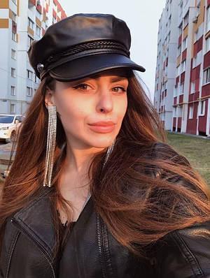 Жіноча кепка з еко-шкіри Amani black
