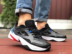 Мужские кроссовки Nike M2K Tekno, чорні з білим\сині / чоловічі кросівки Найк (Топ реплика ААА+)