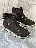 Черные зимние спортивные ботинки, кроссовки с мехом, фото 5