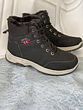 Черные зимние спортивные ботинки, кроссовки с мехом, фото 6