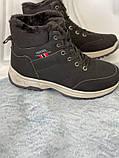 Черные зимние спортивные ботинки, кроссовки с мехом, фото 7
