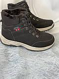Черные зимние спортивные ботинки, кроссовки с мехом, фото 4