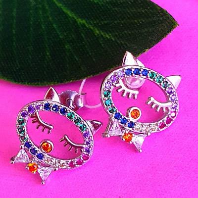 Срібні сережки гвоздики Котики - Пуссети Сплячі Кошенята срібло 925