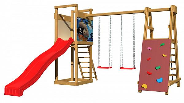 Дитячий спортивний дерев'яний майданчик SportBaby-6, розмір 2,4х 3,6 х 4 м