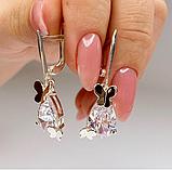 Необычные серебряные сережки с золотом и цирконом Волшебство, фото 2