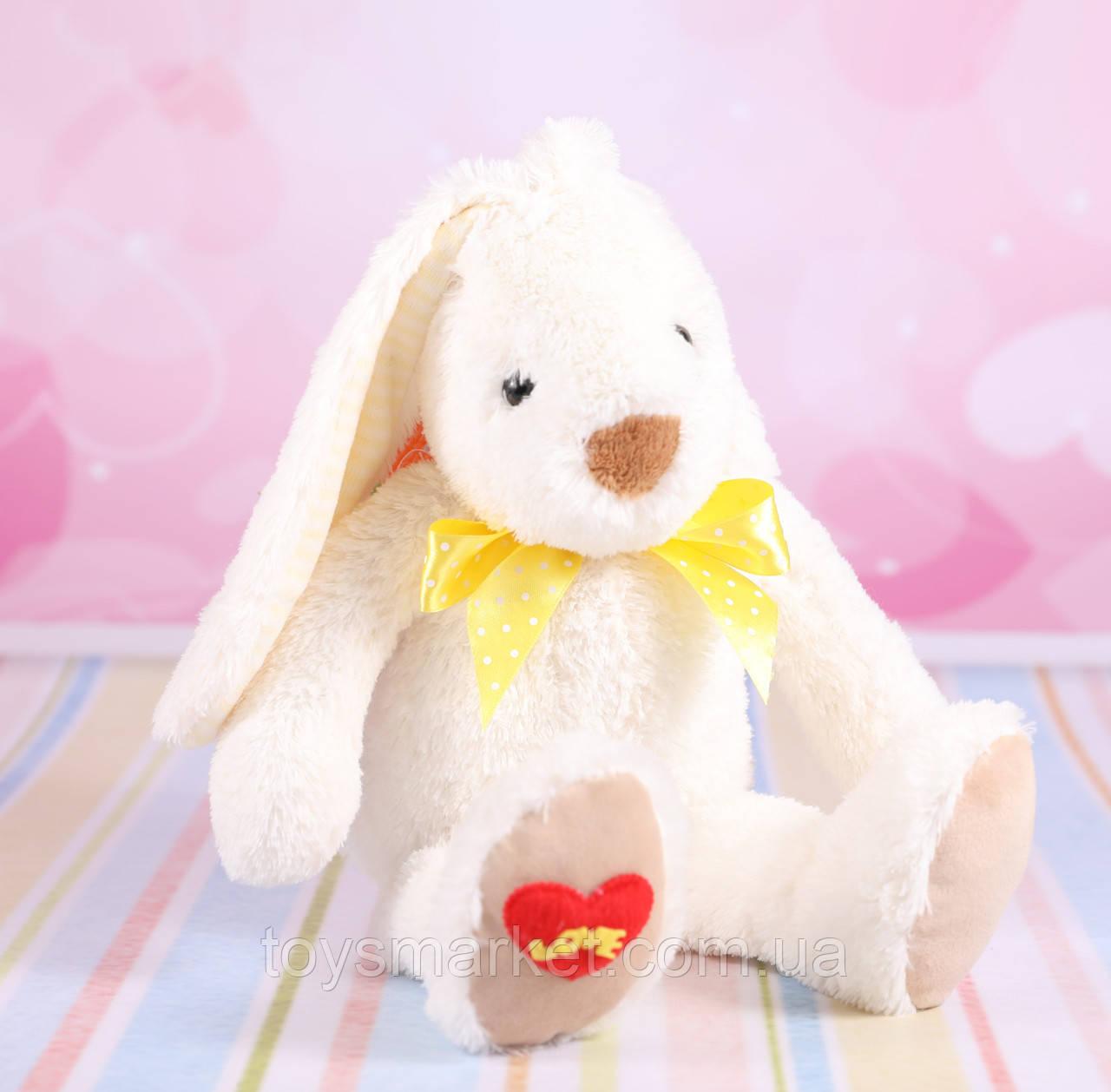 """Мягкая игрушка зайчик """"Ирен"""", плюшевый заяц, белый, 23 см."""