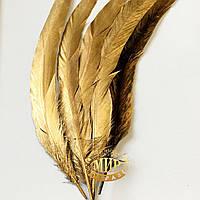 Перо петуха Gold длинна 30-35см, ширина 2,5см, 1шт (односторонняя прокраска)
