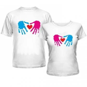 """Парные футболки с принтом """"Синяя и розовая ладони с сердцем"""" Push IT"""