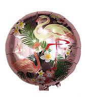 Фольгированный шарик с рисунком Фламинго, 45*45 см