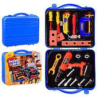 Детский набор инструментов в чемодане, дрель на батарейках, 92807