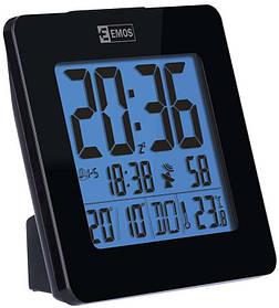 Електронні LED годинник-будильник EMOS настільні, з підсвічуванням і термометром Чорний КОД: E0113