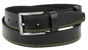 Мужской кожаный ремень под джинсы Skipper 1256-38 черный 3,8 см
