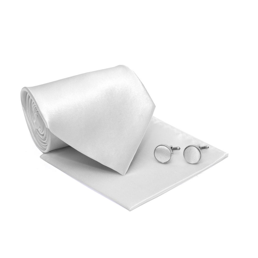 Набір білий 3в1, краватка, хустинка, запонки GZN-6309