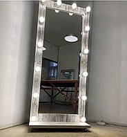 Гримерное зеркало с подсветкой с лампами в полный рост на подставке с колесиками 180/80 Кантри