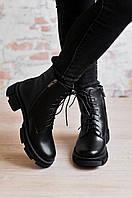 Ботинки кожаные зимние на шнуровке и молнии
