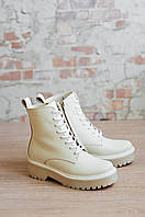 Ботинки мартинсы светлые, зимние, кожаные на шнуровке и молнии
