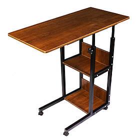 Приліжковий столик Sky для сніданку і ноутбука на коліщатках з додатковими полицями Коричневий КОД: 5901