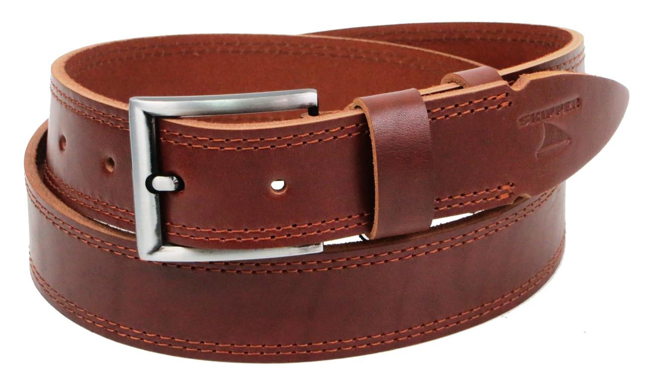 Ремень мужской кожаный под джинсы Skipper 1305-38 коричневый