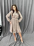 Женское свободное платье в горошек
