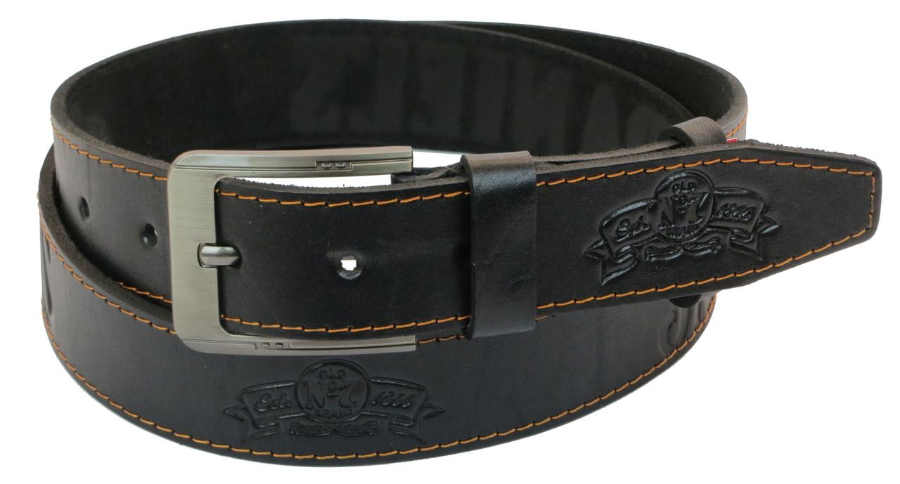 Мужской кожаный ремень под джинсы Skipper 1042-38 черный ДхШ: 128х3,8 см.
