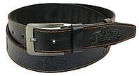 Мужской кожаный ремень под джинсы Skipper 1042-38 черный ДхШ: 128х3,8 см., фото 1