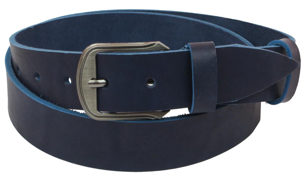 Мужской кожаный ремень под джинсы Skipper 1086-38 синий ДхШ: 130х3,8 см.