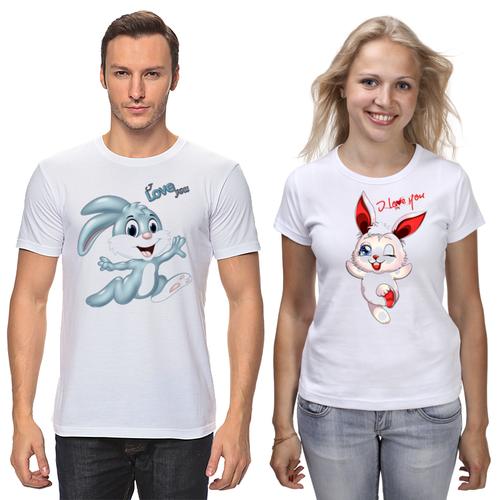 """Парные футболки с принтом """"Зайчата"""" Push IT"""