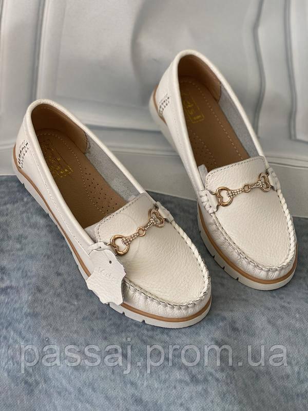 Туфли лоферы белые, мокасины из натуральной кожи все размеры