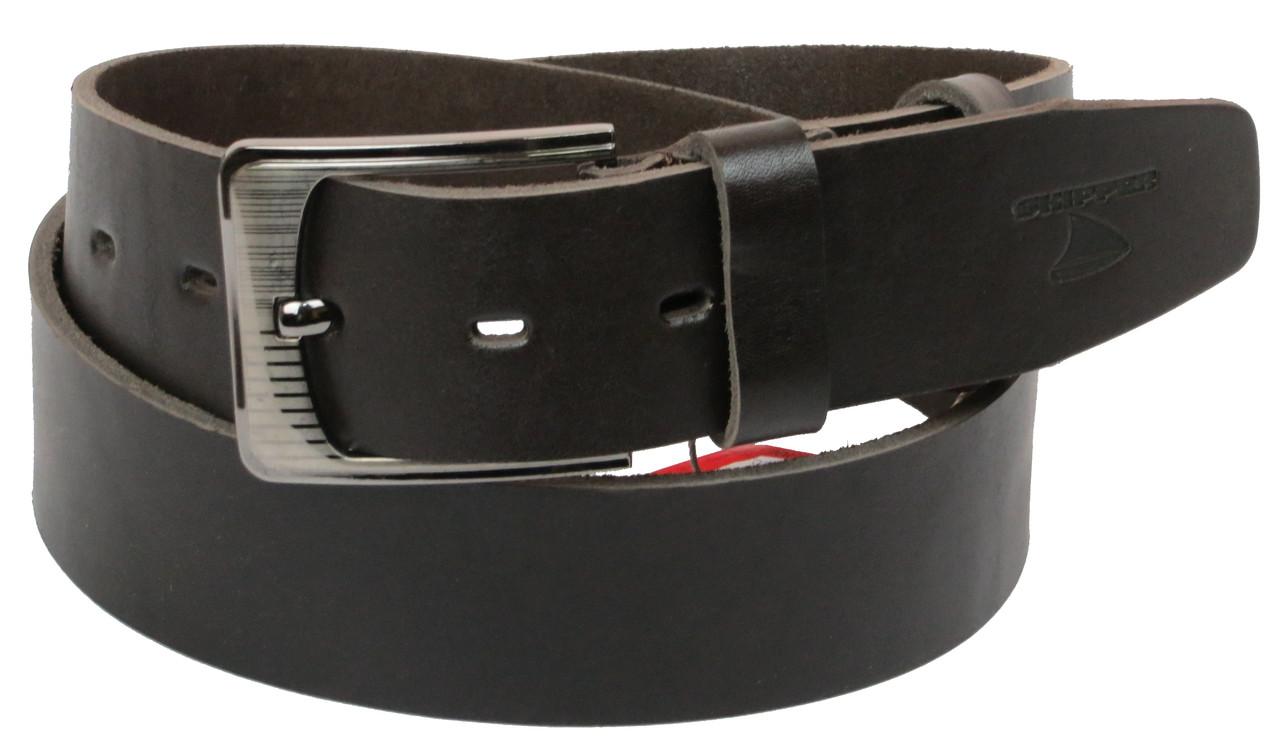 Мужской кожаный ремень под джинсы Skipper 1179-45 темно-коричневый ДхШ: 125х4,5 см.