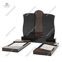 Двойной памятник из гранита черного габбро Букинского месторождения и гранита Капустянского месторождения