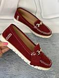 Мокасины, туфли, балетки из натуральной замши цвета марсала, фото 5