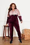 Велюровий спортивний костюм жіночий Розмір 50 52 54 56 58 60 62 64 Різні кольори, фото 6