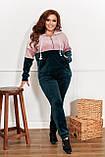 Велюровий спортивний костюм жіночий Розмір 50 52 54 56 58 60 62 64 Різні кольори, фото 7