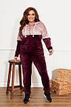 Велюровий спортивний костюм жіночий Розмір 50 52 54 56 58 60 62 64 Різні кольори, фото 9