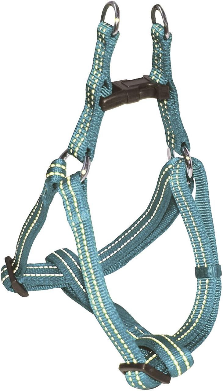Шлея для собак 50-65 см Croci SOFT REFLECTIVE. Голубой нейлон, светоотражающая