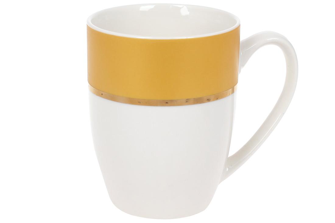 Кружка фарфоровая Золотая Линия 340мл, цвет - желтый с белый(12шт.)(588-180)