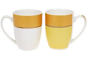 Кружка фарфоровая Золотая Линия 340мл, цвет - желтый с белый(12шт.)(588-180), фото 2