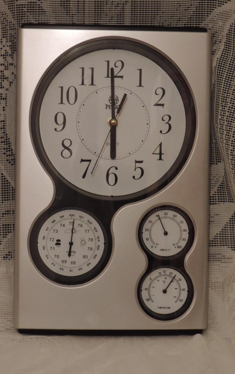 Часы настенные (метеостанция - барометр, гигрометр, термометр). Кварцевые.  -