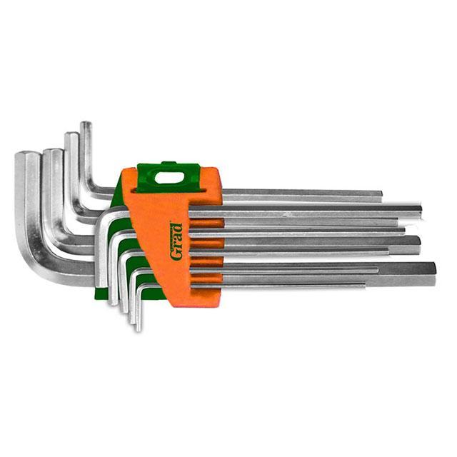 Ключи шестигранные 9шт 1.5-10мм CrV (средние) GRAD (4022085)