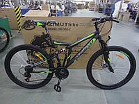 """Горный двухподвесный велосипед Azimut Dinamic Азимут Динамик 26"""" дюймов черно-зеленый"""